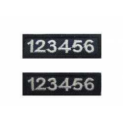 REGISTER-POLICE NUMBERS EMBROIDERY PAIR WITH VELCRO
