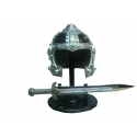 SWORD AND HELMET DECORATION (HEIGHT 50MM WIDTH 50MM SWORDS WITH WOODEN BASE)